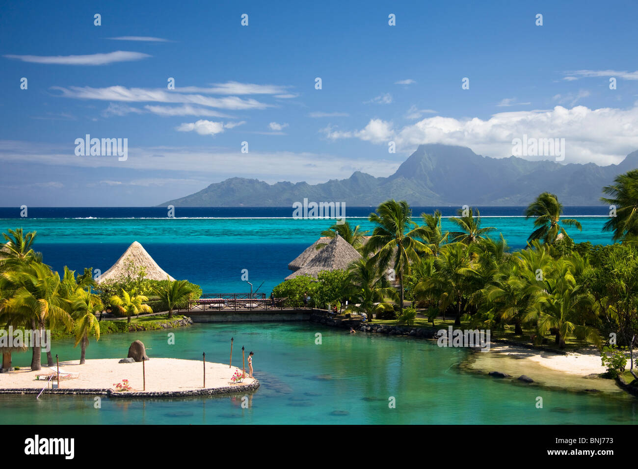 Tahiti Tahiti Nui Island Papete city sea Intercontinental Resort straw huts hotel hotel arrangement hut bungalow Stock Photo
