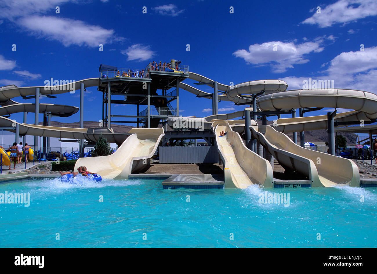 USA Nevada town city swimming-pool water park water slides ...