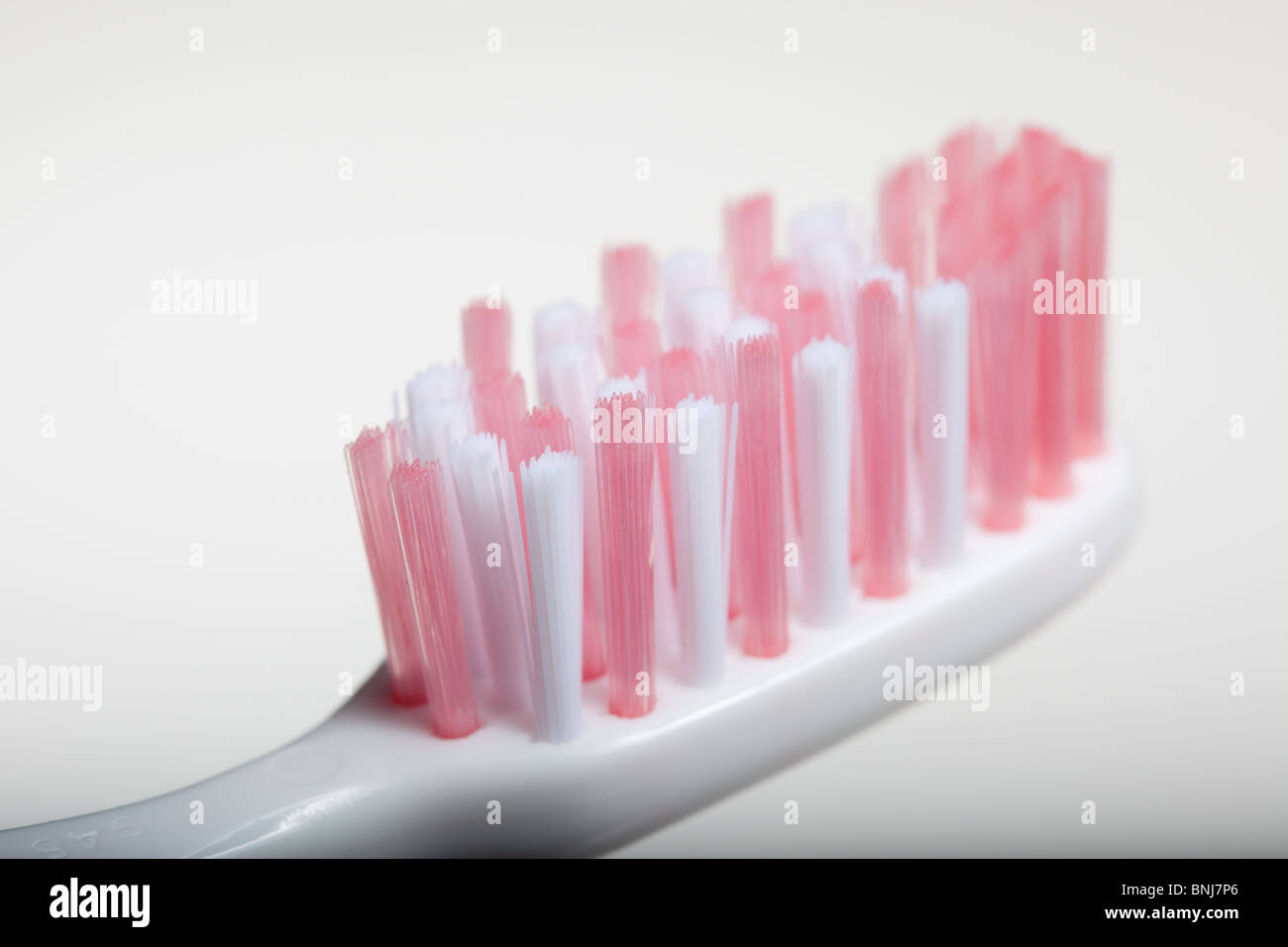 Close-up Macro shot of a toothbrush head - Stock Image