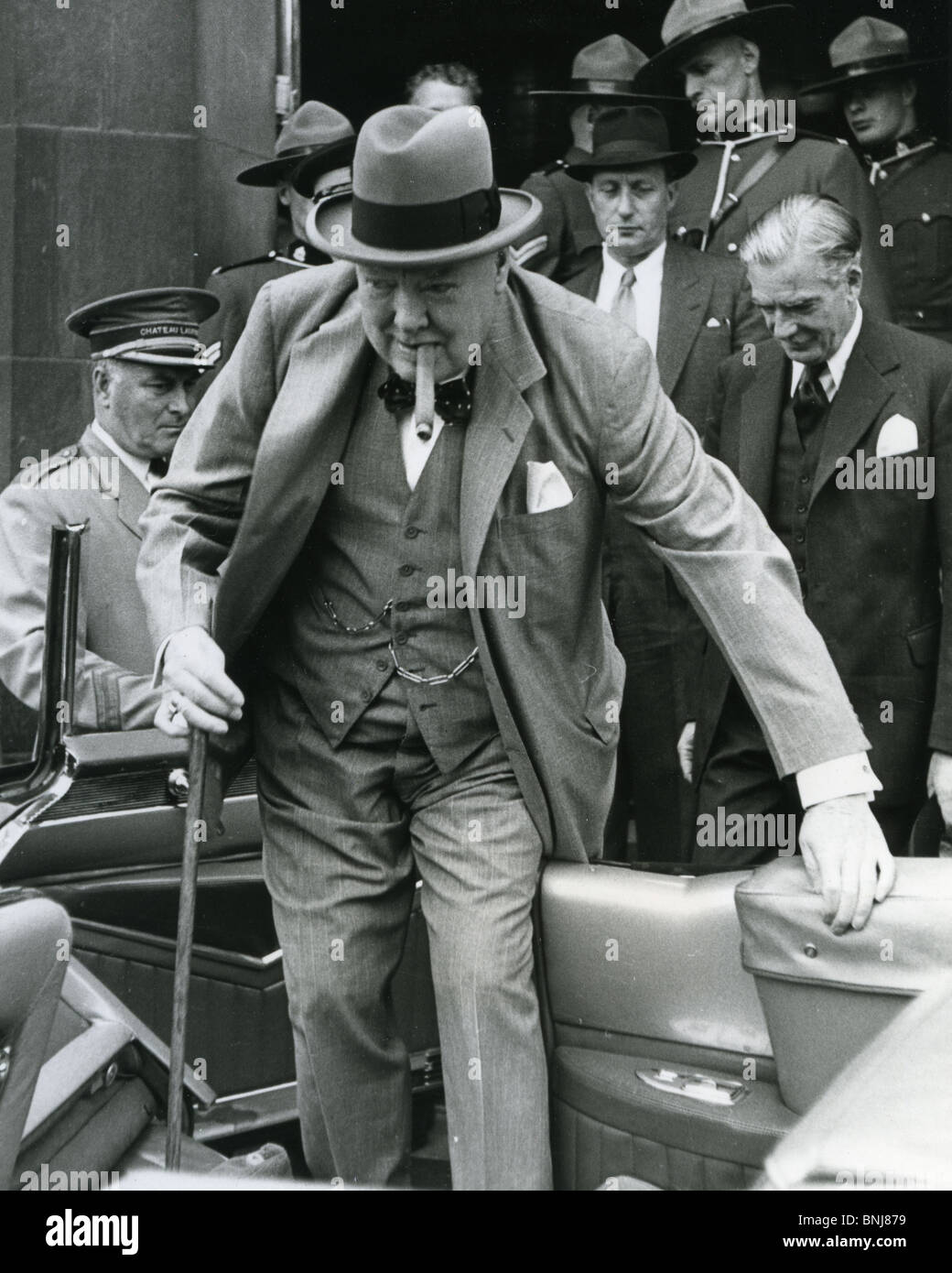 576f456647fd3 WINSTON CHURCHILL is followed by Anthony Eden on a visit to Ottawa in 1954