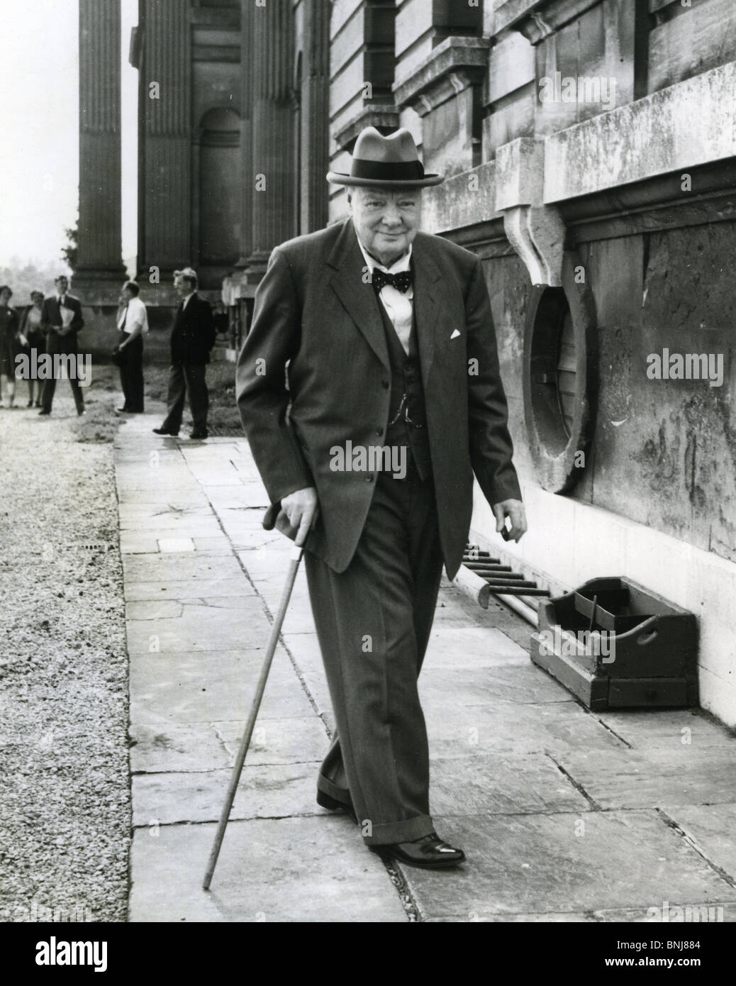 SIR WINSTON CHUCHILL re-visiting his birthplace at Blenheim including the room in which he was born - Stock Image