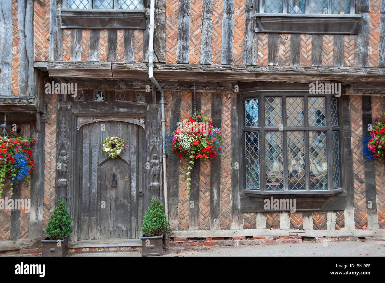 Historic 16 century timber framed buildings in Lavenham Suffolk - Stock Image