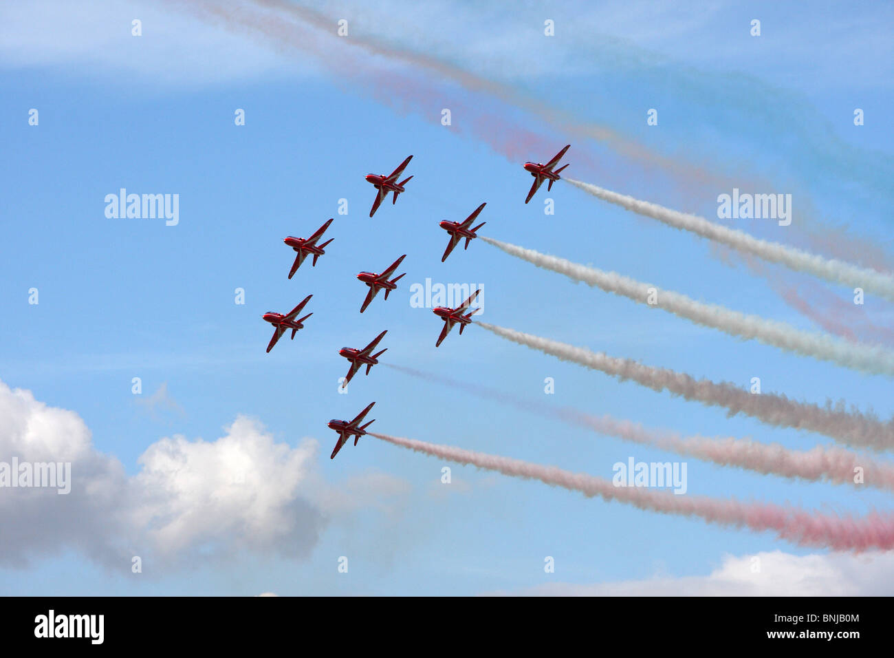 Red Arrows at RAF Fairford Gloucestershire. Royal International Air Tattoo 2010. RIAT - Stock Image
