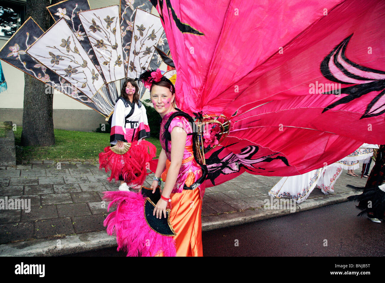 Isle of Wight carnival dancers at Closing Ceremony NatWest Island Games 2009 in Mariehamn on Åland, July 4 - Stock Image