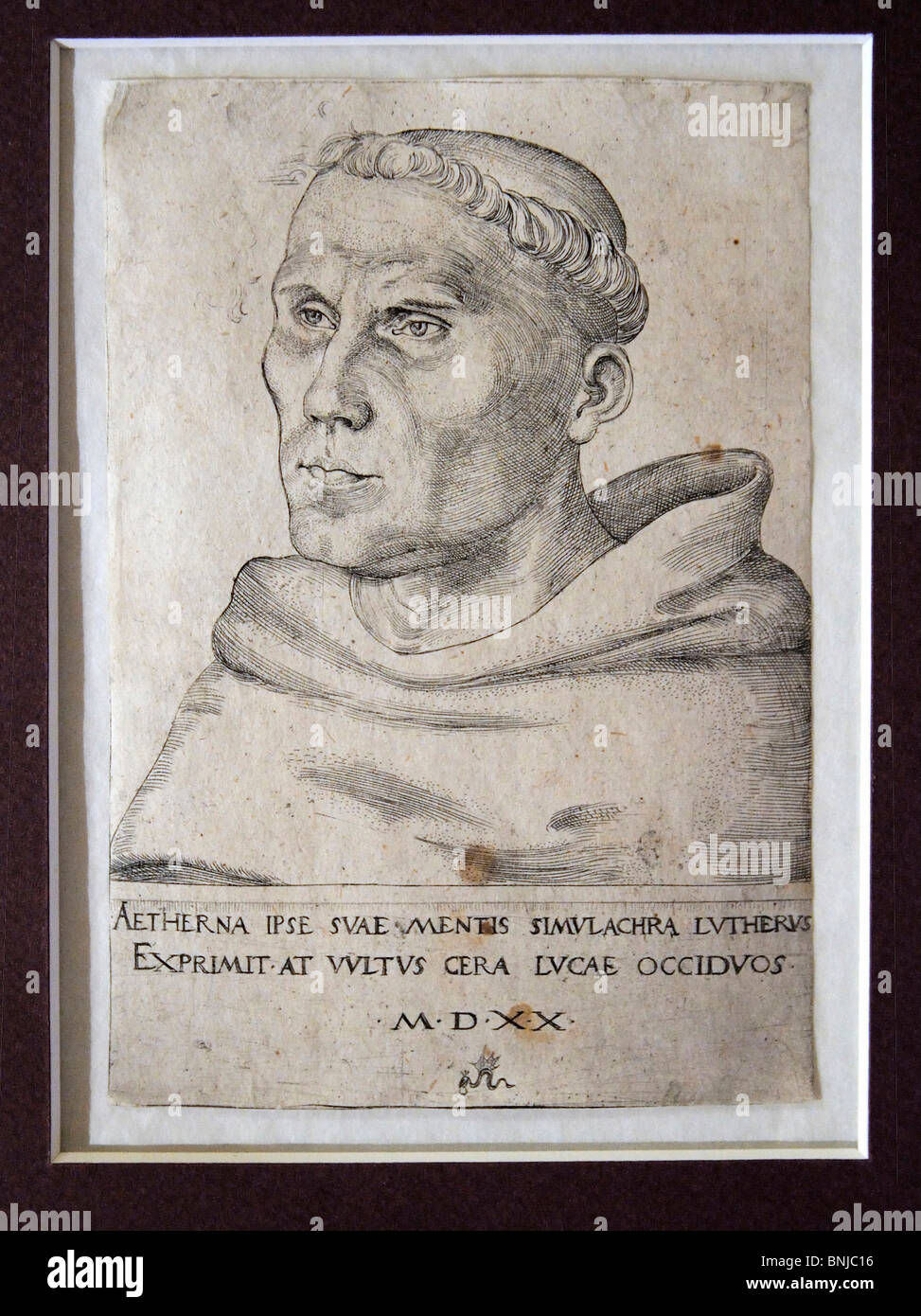 Luther Martin reformer picture copperplate monument memory Augustinian monk Augustinian monk theology schism church - Stock Image