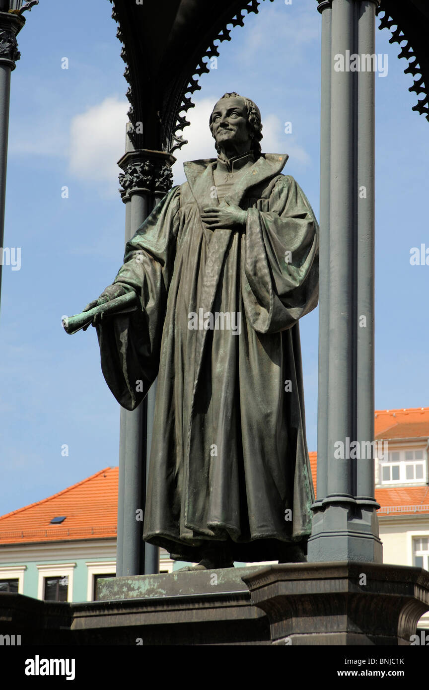 Philipp Melanchthon reformer statue monument memory philosopher humanist theologian theology schism church belief - Stock Image