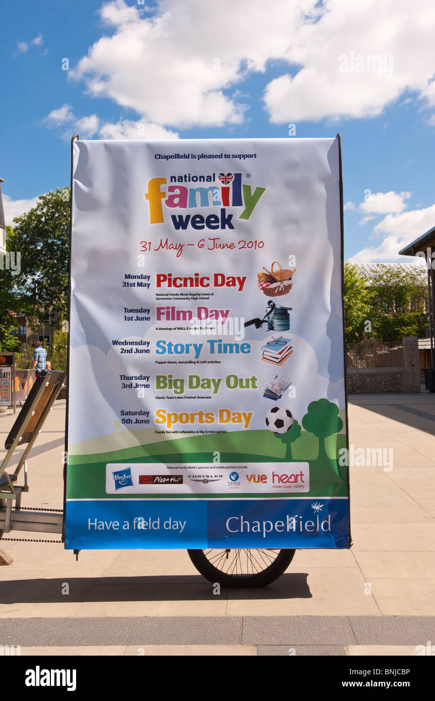 A sign advertising National Family Week Events in Norwich , Norfolk , England , Great Britain , Uk - Stock Image