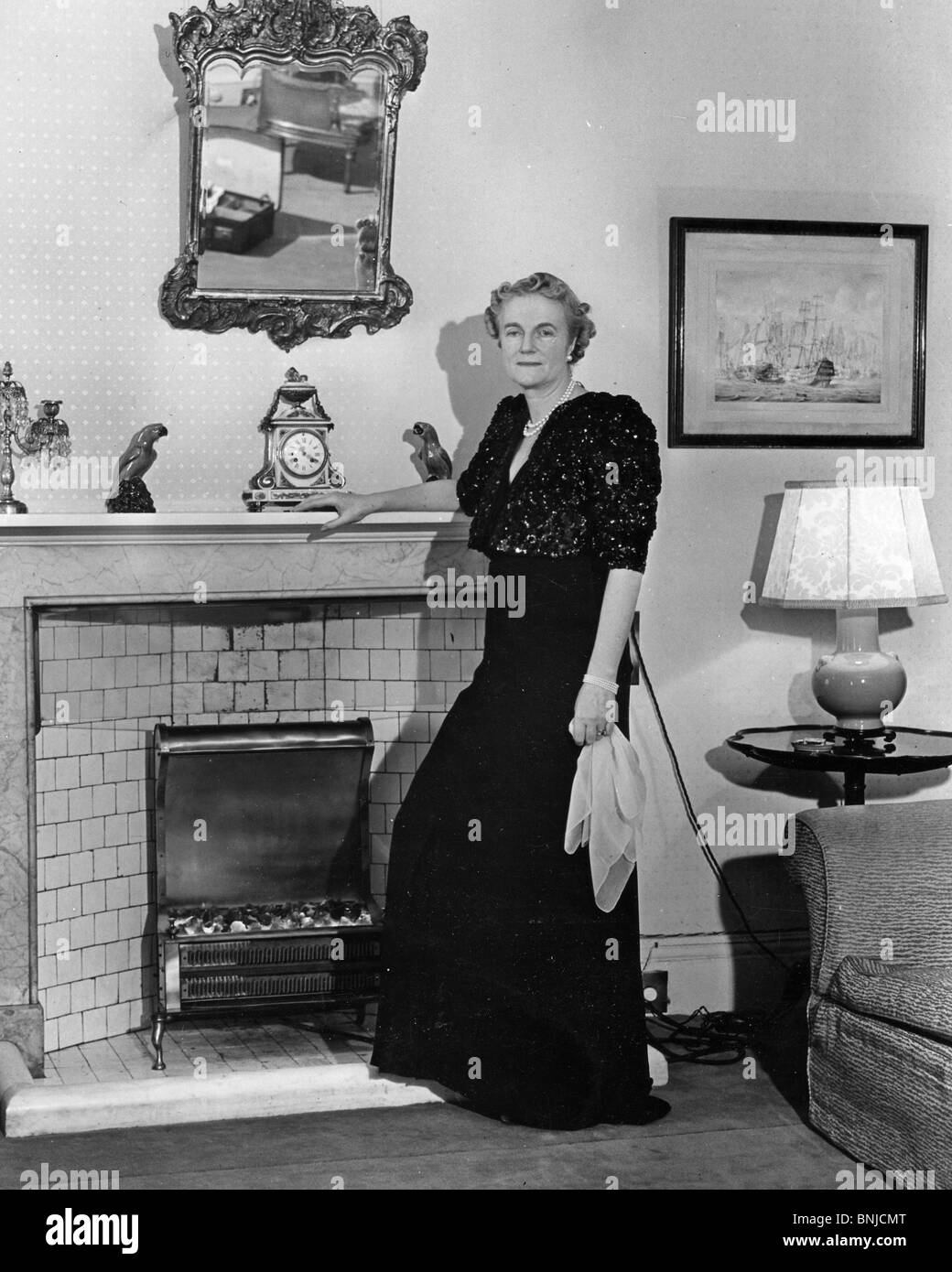 CLEMETINE CHURCHILL wife of Winston photo0graphed in 1941 at their Admiralty House homew - Stock Image
