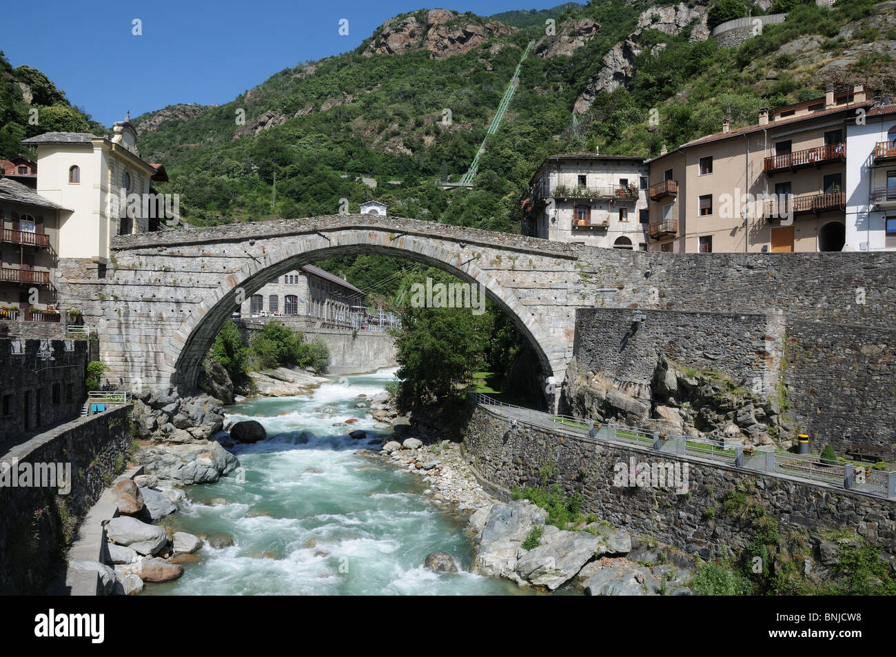 roman bridge over torrente lys pont st martin aosta valley italy stock photo 30523396 alamy. Black Bedroom Furniture Sets. Home Design Ideas
