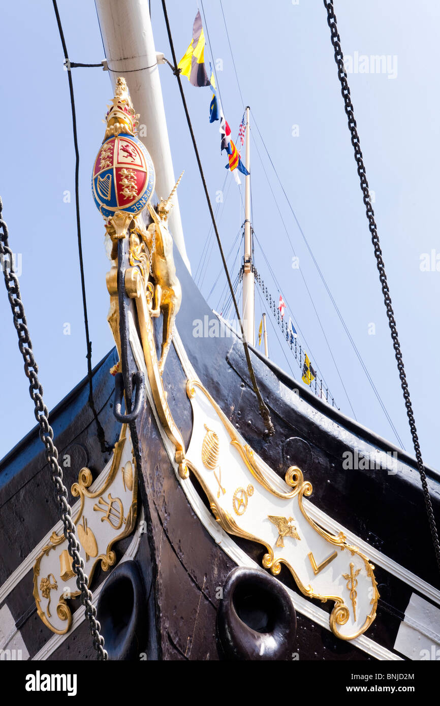 The bows of the S S Great Britain now resting in the same dry dock in which she was built in the Great Western Dockyard, - Stock Image