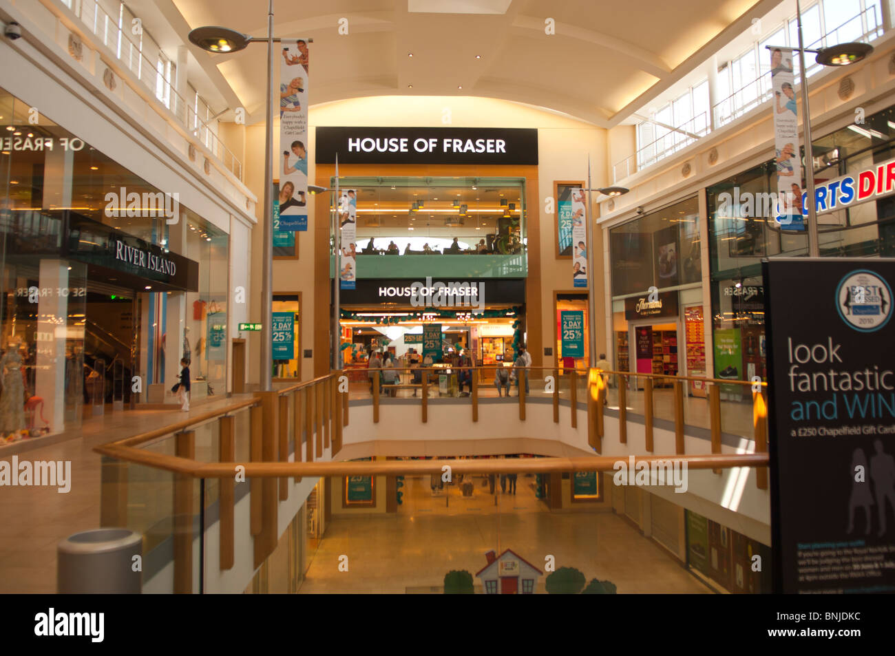 The House of Fraser shop store in Chapelfield shopping centre with shoppers in Norwich , Norfolk , England , Great - Stock Image