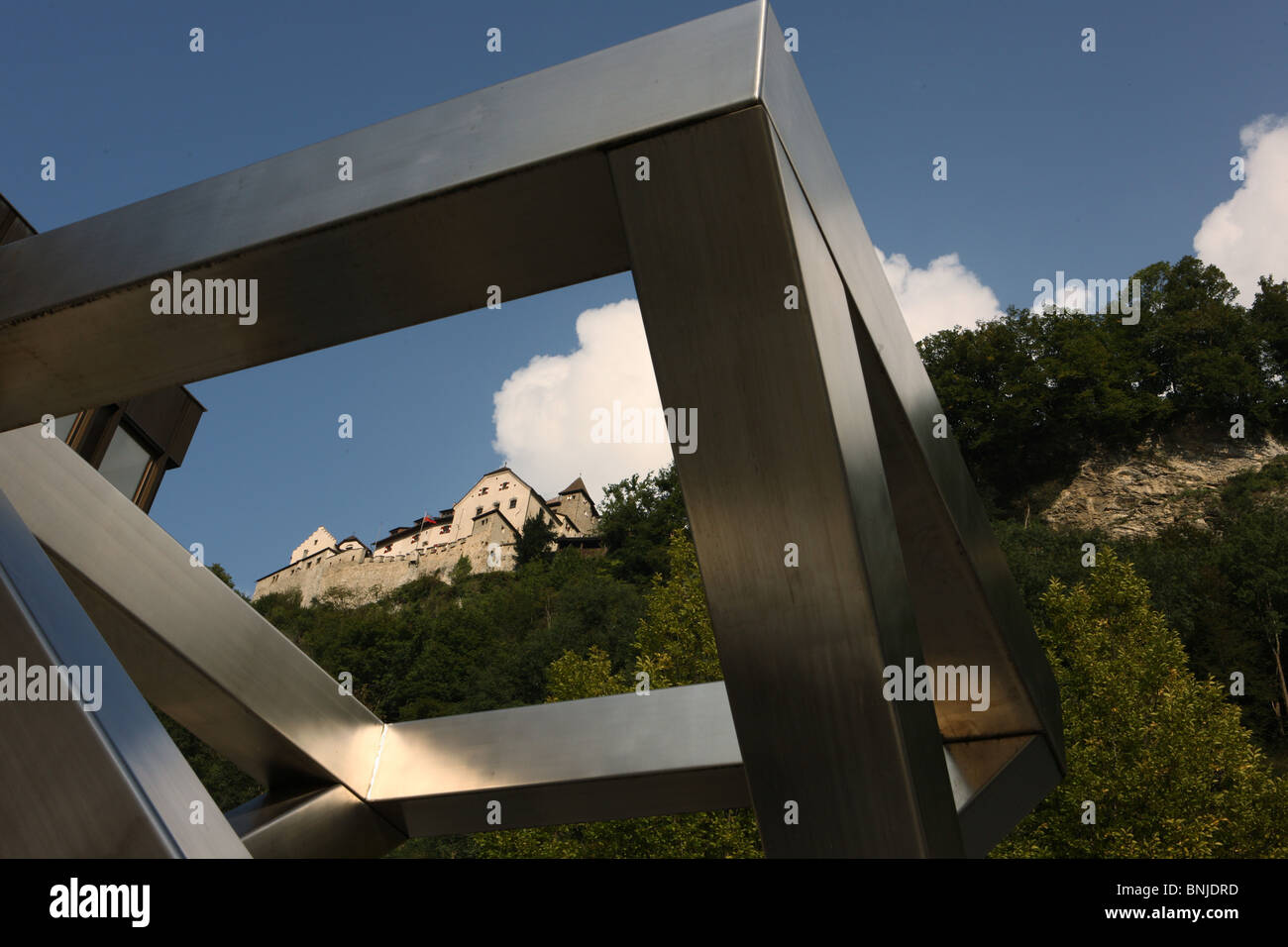 Fürstentum building Principality of Liechtenstein castle Vaduz sculpture modern old new mountain art culture Stock Photo