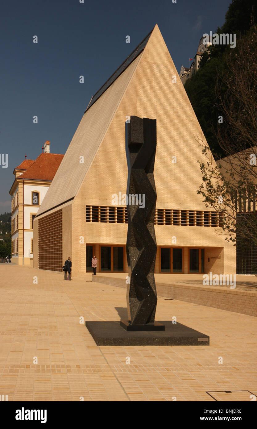 Fürstentum building Principality of Liechtenstein Vaduz Hohes Haus Peter Kaiser square modern architecture Landtag Stock Photo