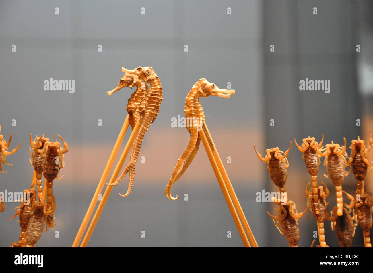 Seahorse and Scorpion snacks for sale, Wangfujing, Beijing, China