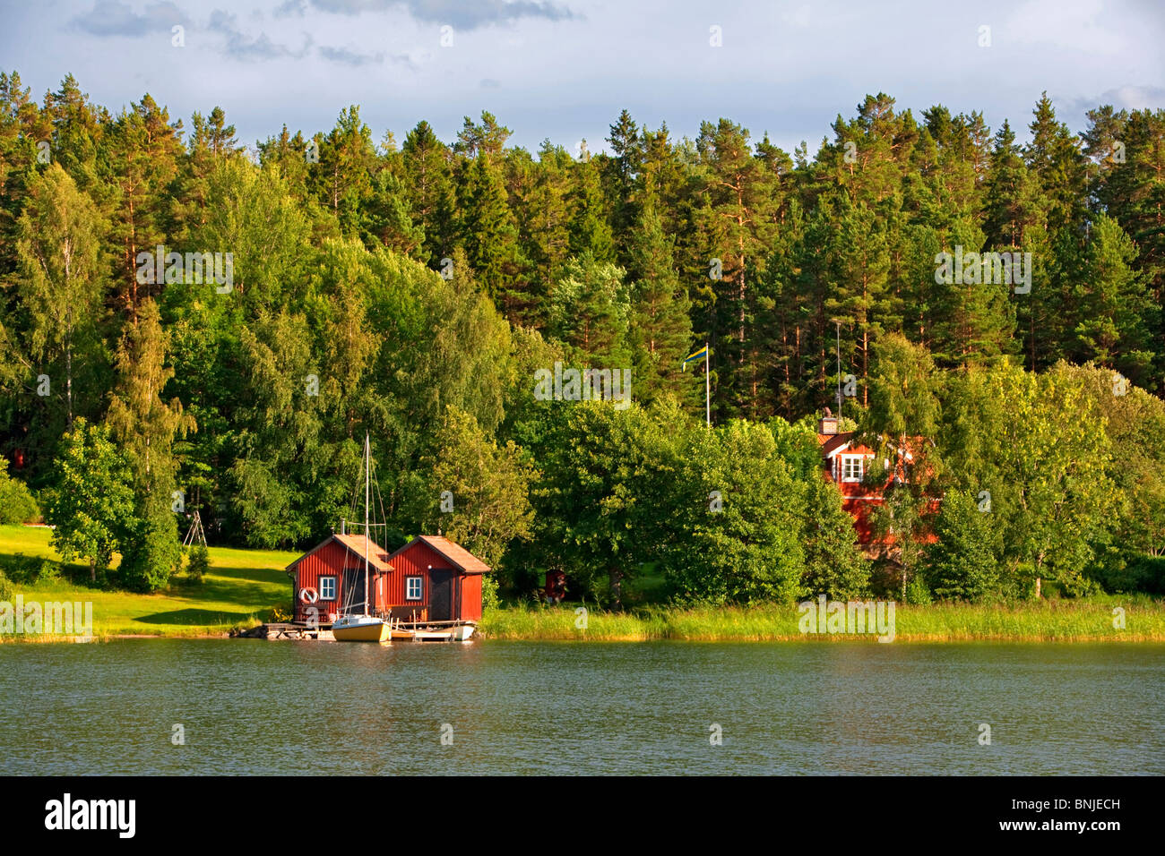 Sweden Stockholm Archipelago Baltic Sea Blue Europe Exterior House Houses Island Islands Navigation Outdoors Outside - Stock Image