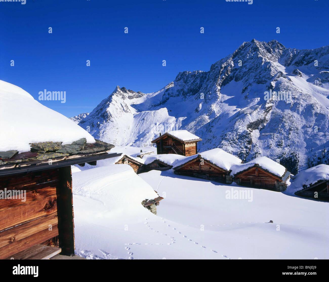Alp Arolla alps alpine mountain mountains Mountain Snow Canton of Valais Village Winter Switzerland landscape scenery Stock Photo