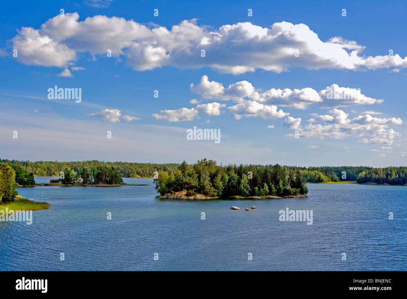Sweden Stockholm Archipelago Baltic Sea Blue Europe Exterior Island Islands Islet Nature Nobody Outdoors Outside - Stock Image