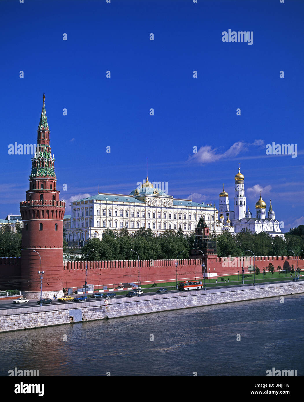 Russia Summer 2008 Moscow city Moskva River Kremlin - Stock Image