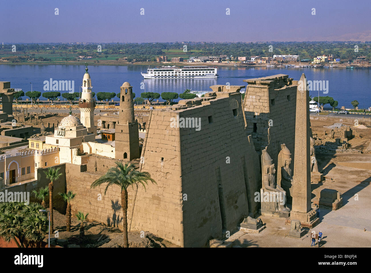 Egypt March 2007 Luxor city Luxor Temple Nile river ancient historic Stock Photo