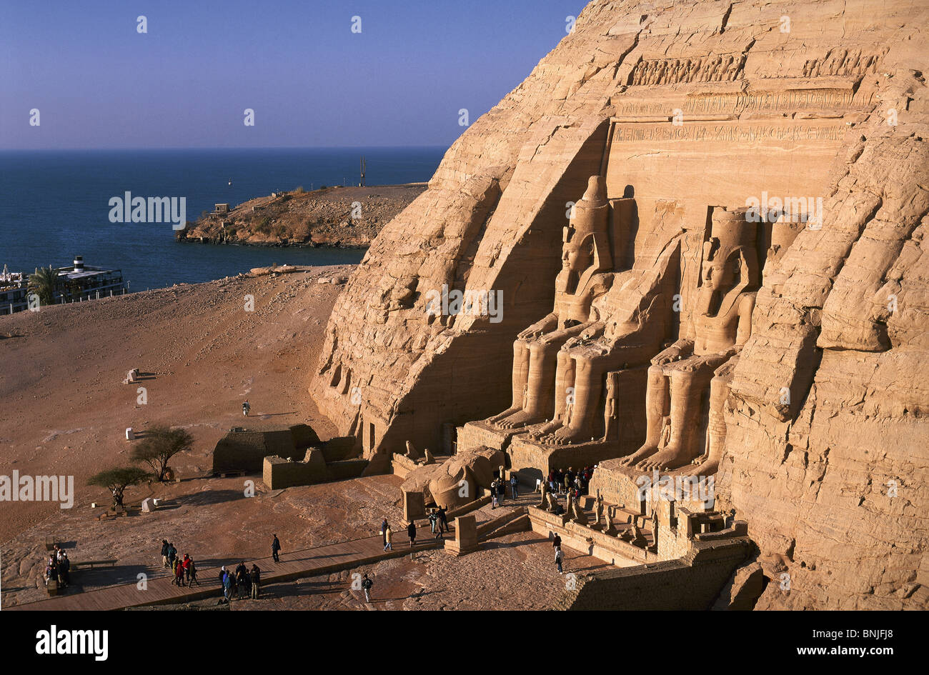 Egypt March 2007 Abu Simbel Temple Nasser Lake ancient historic culture - Stock Image