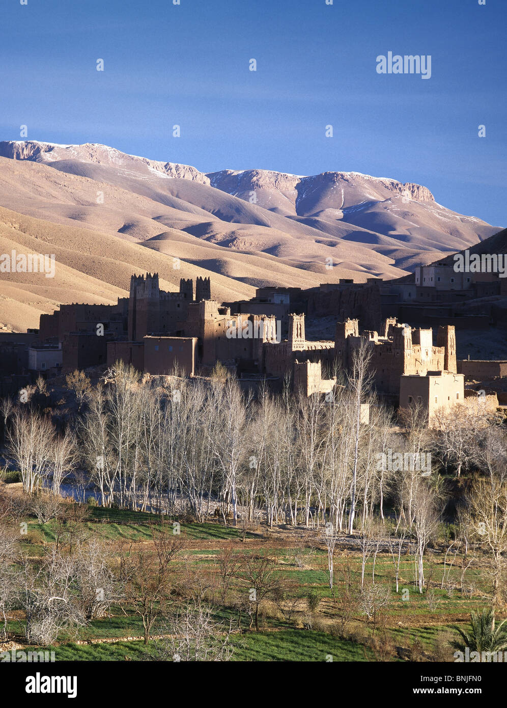 Morocco january 2007 Kasbah at Dades valley Atlas Mountains landscape city old town - Stock Image