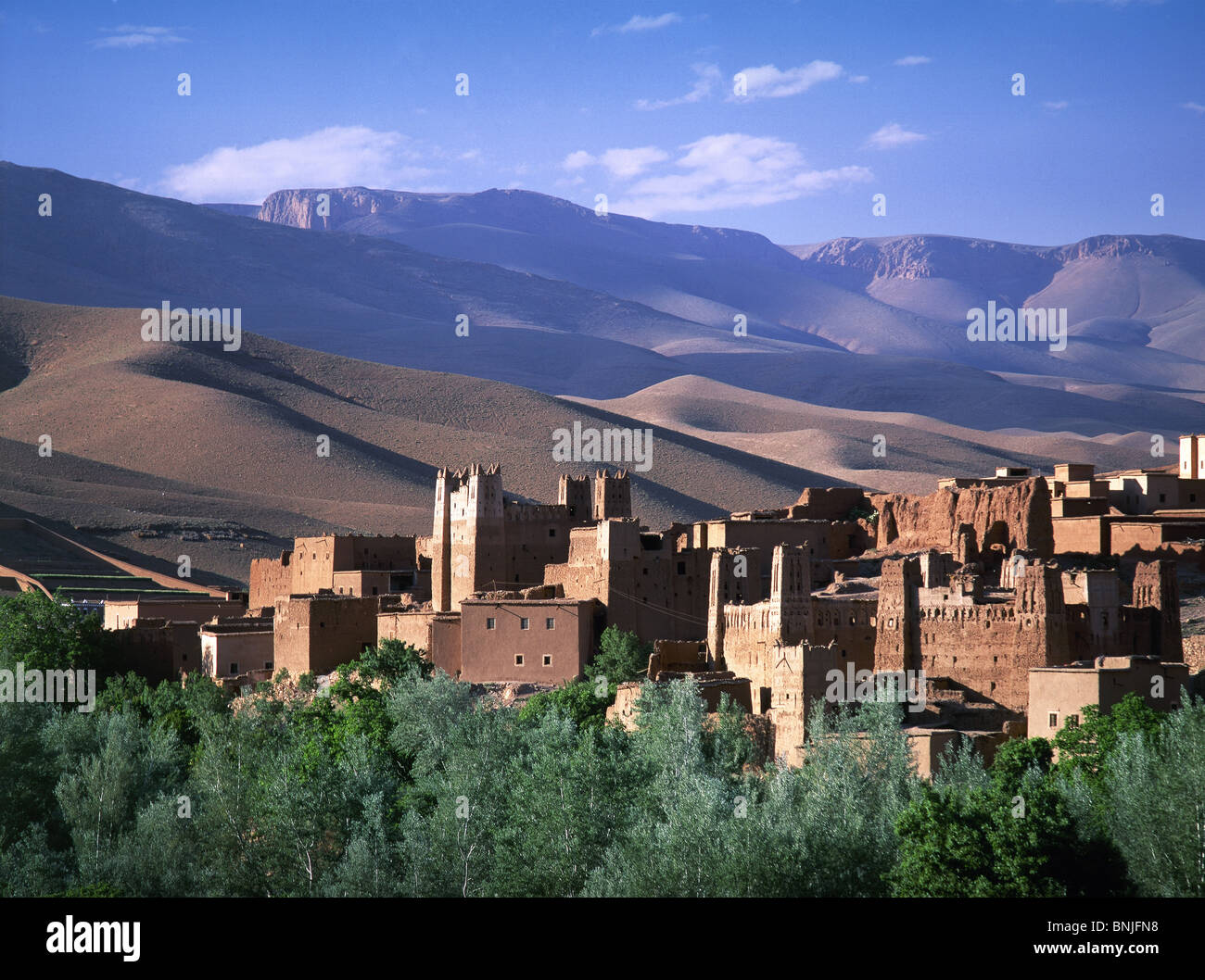Morocco February 2007 Kasbah at Dades valley Atlas Mountains landscape city old town - Stock Image