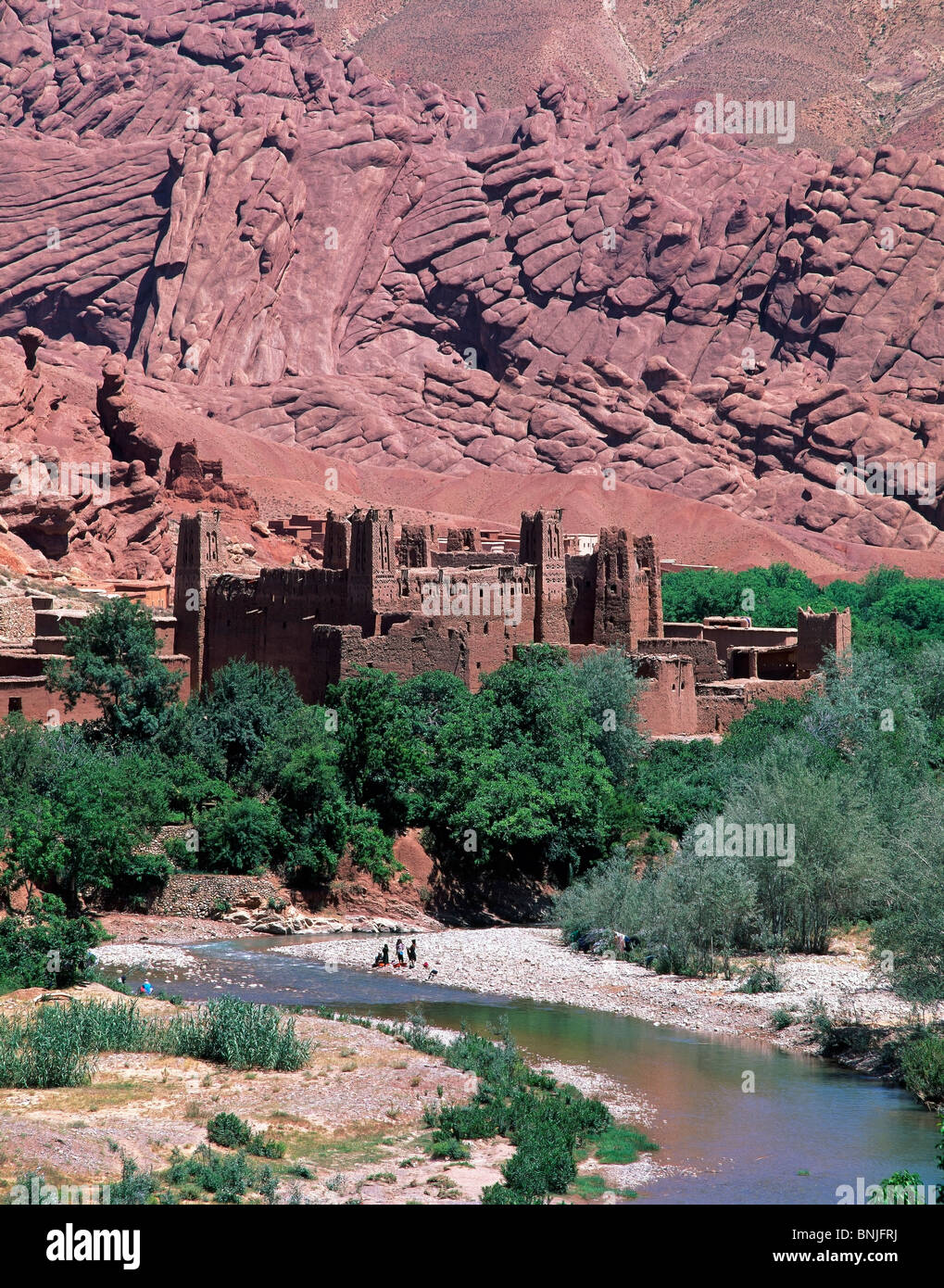 Morocco February 2007 Kasbah at Dades valley Atlas Mountains landscape city old town river - Stock Image
