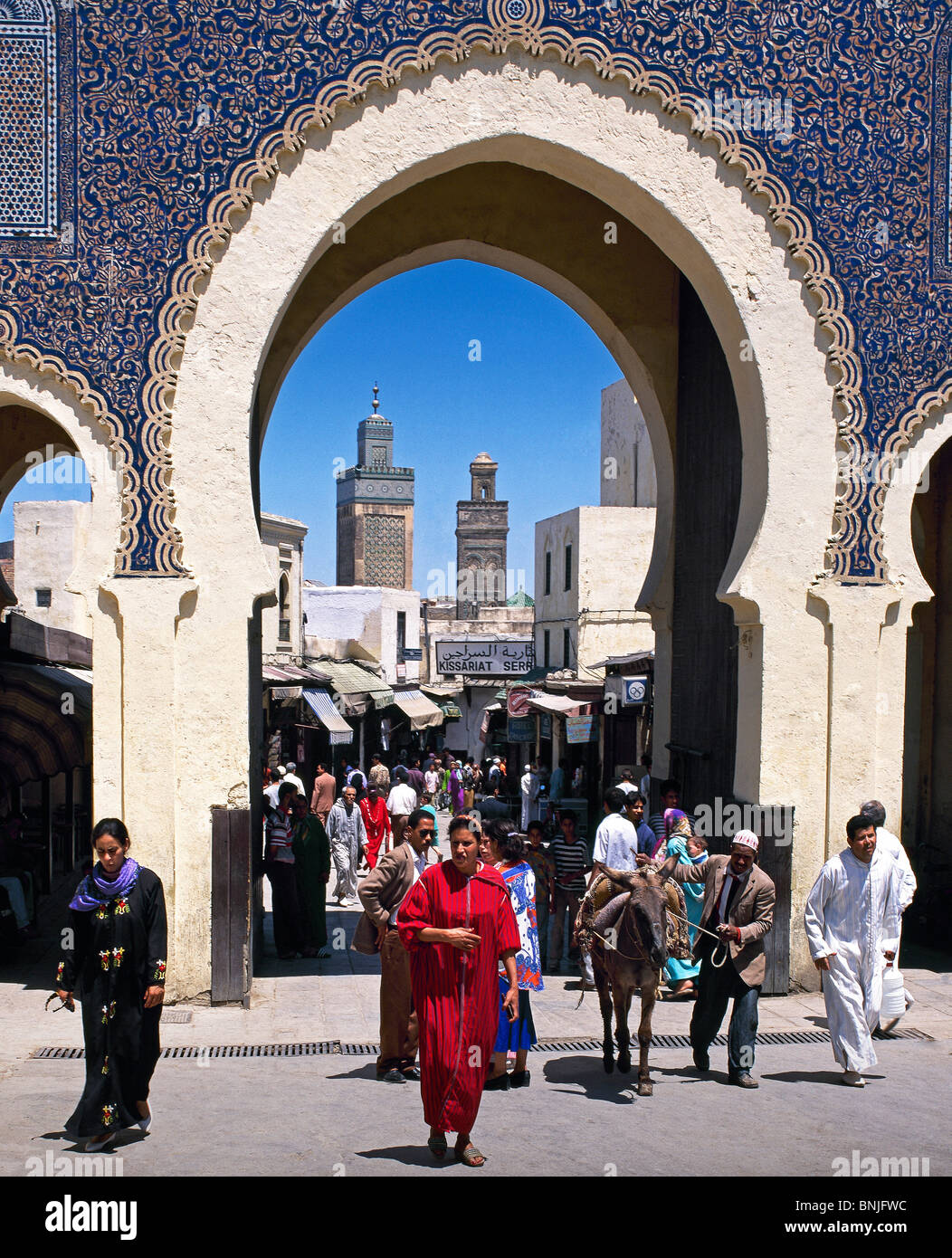 Morocco February 2007 Fes city Bab Bou jelud Entrance to Medina gate people locals - Stock Image