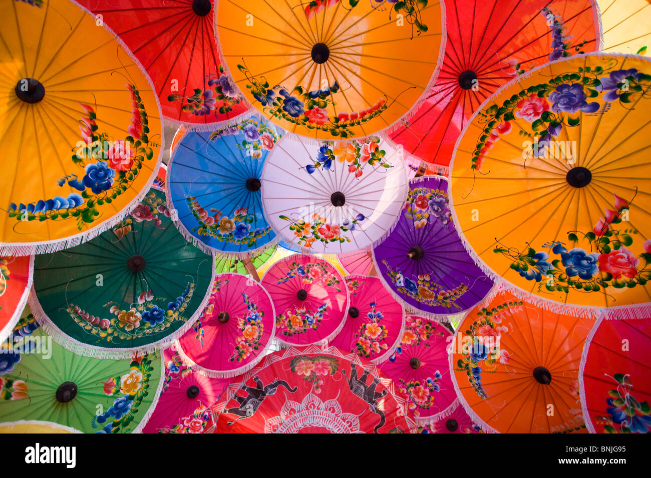 Thailand Chiang Mai Umbrella Display Borsang Village Asia Northern