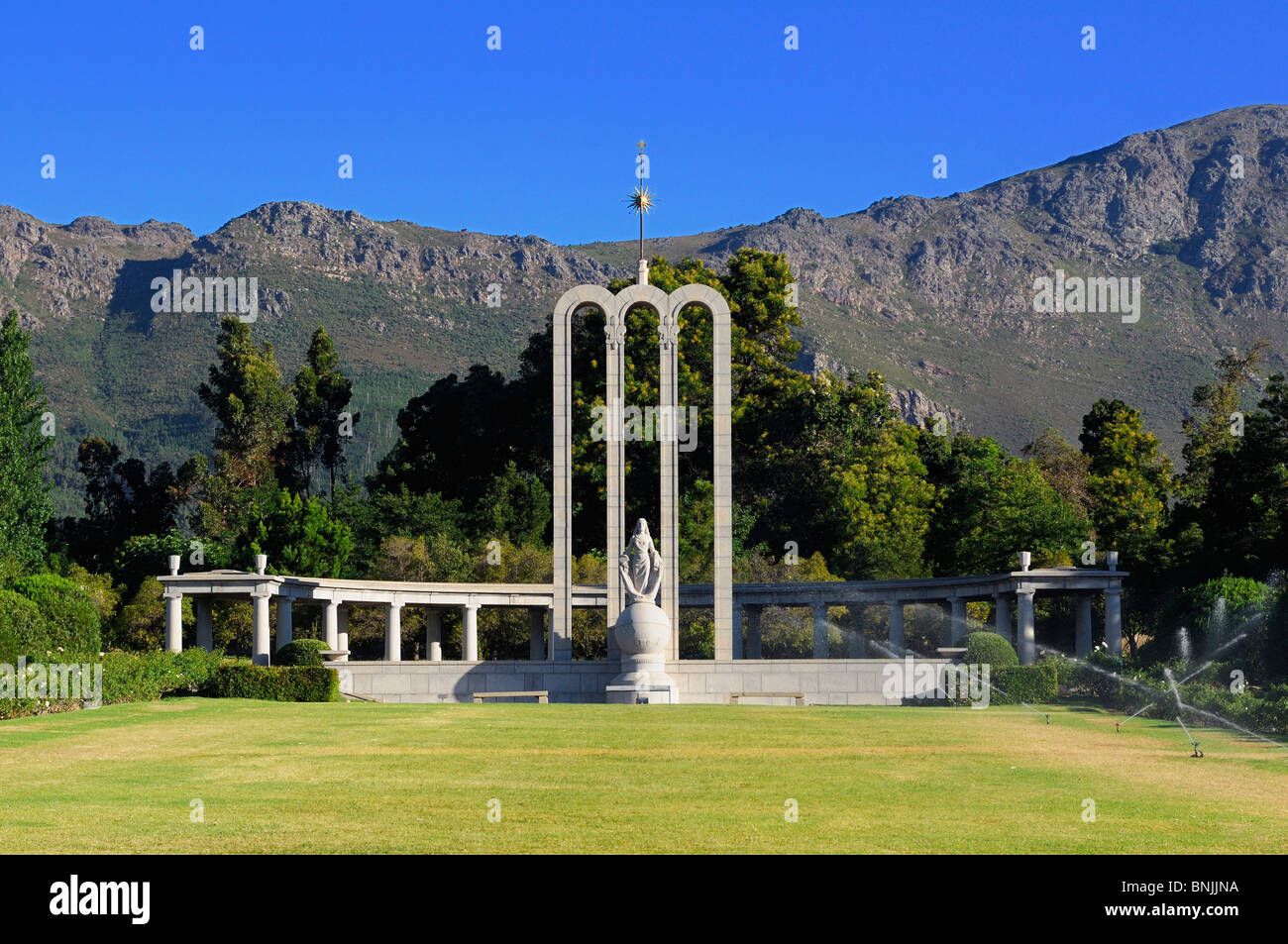 Huguenot Monument Franschhoek Western Cape South Africa history mountains mountain - Stock Image