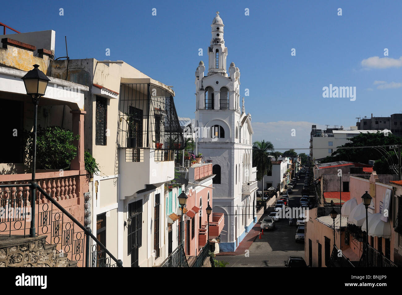 Zona Colonial Santo Domingo Dominican Republic city houses travel tourism holiday Caribbean - Stock Image