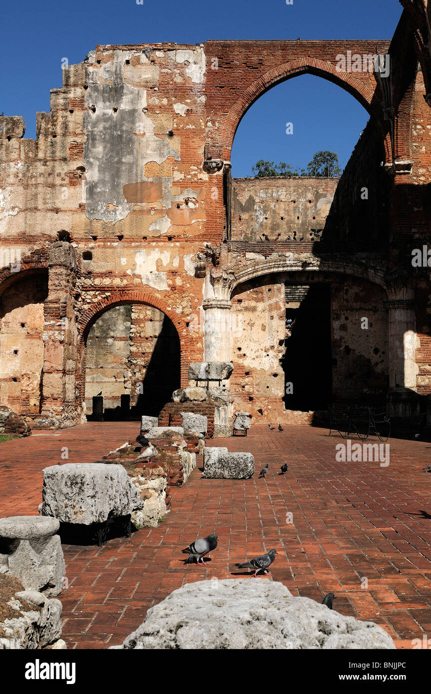 Old Hospital Ruines Zona Colonial Santo Domingo Dominican Republic travel tourism holiday Caribbean - Stock Image