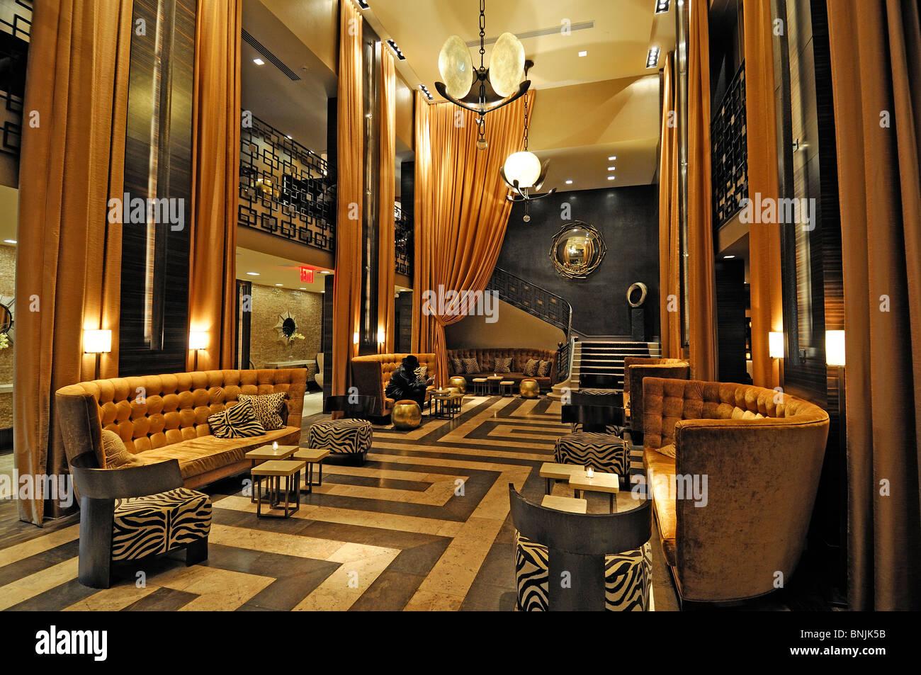 Lobby The Empire Hotel 44 W 63rd Street Upper West Side Manhattan New York USA interior lounge city travel american - Stock Image