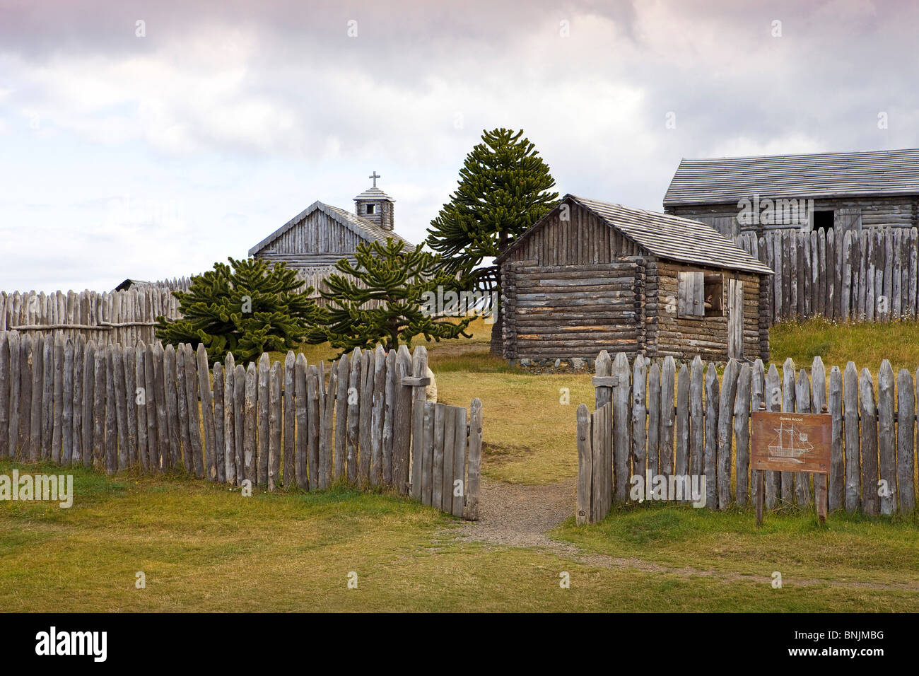 Chile South America March 2009 Chilean Patagonia Strait of Magellan Bulnes Fort wooden wood palisade historic historcial - Stock Image