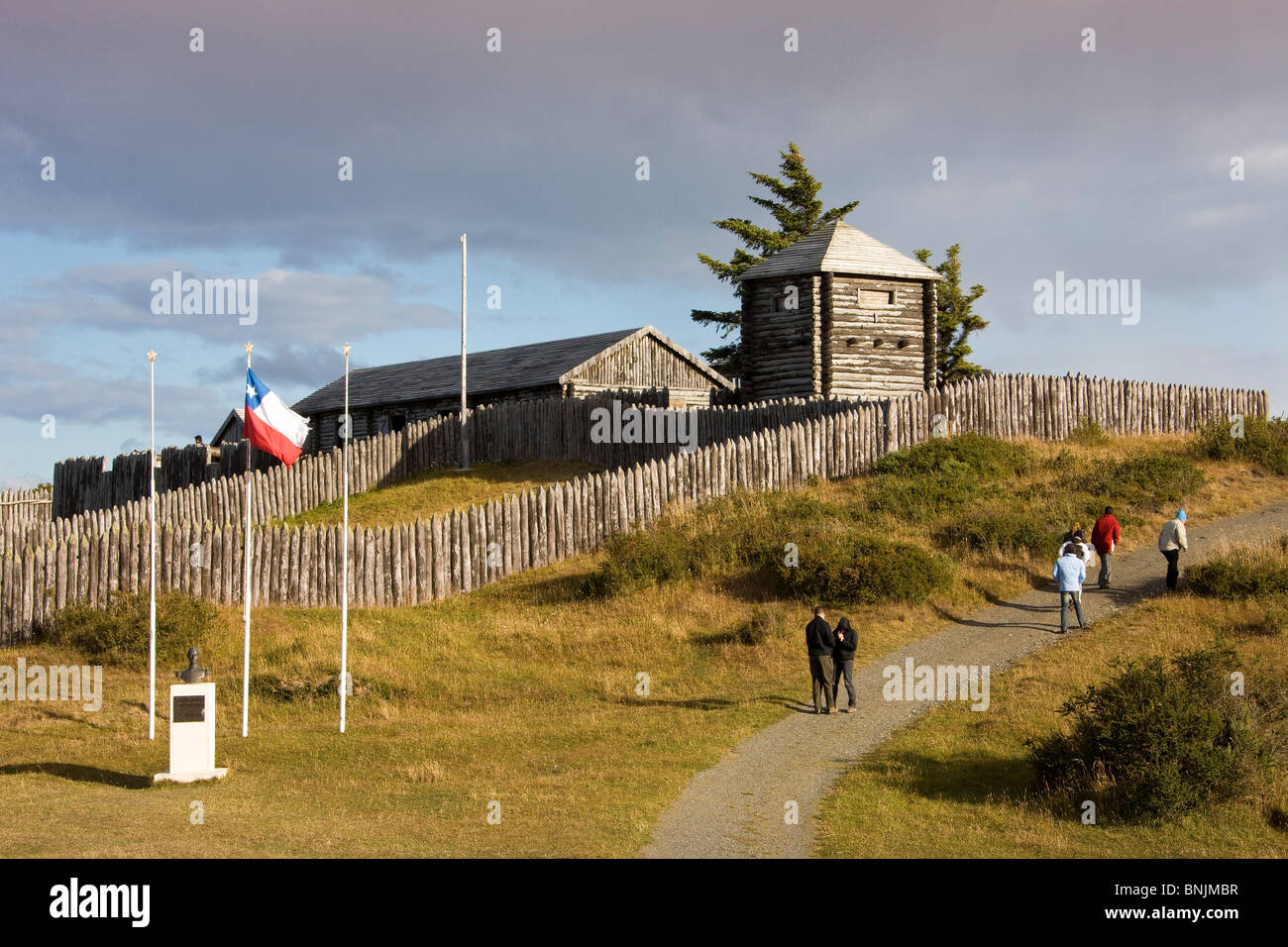 Chile South America March 2009 Chilean Patagonia Strait of Magellan Bulnes Fort wooden wood palisade historic historcial Stock Photo