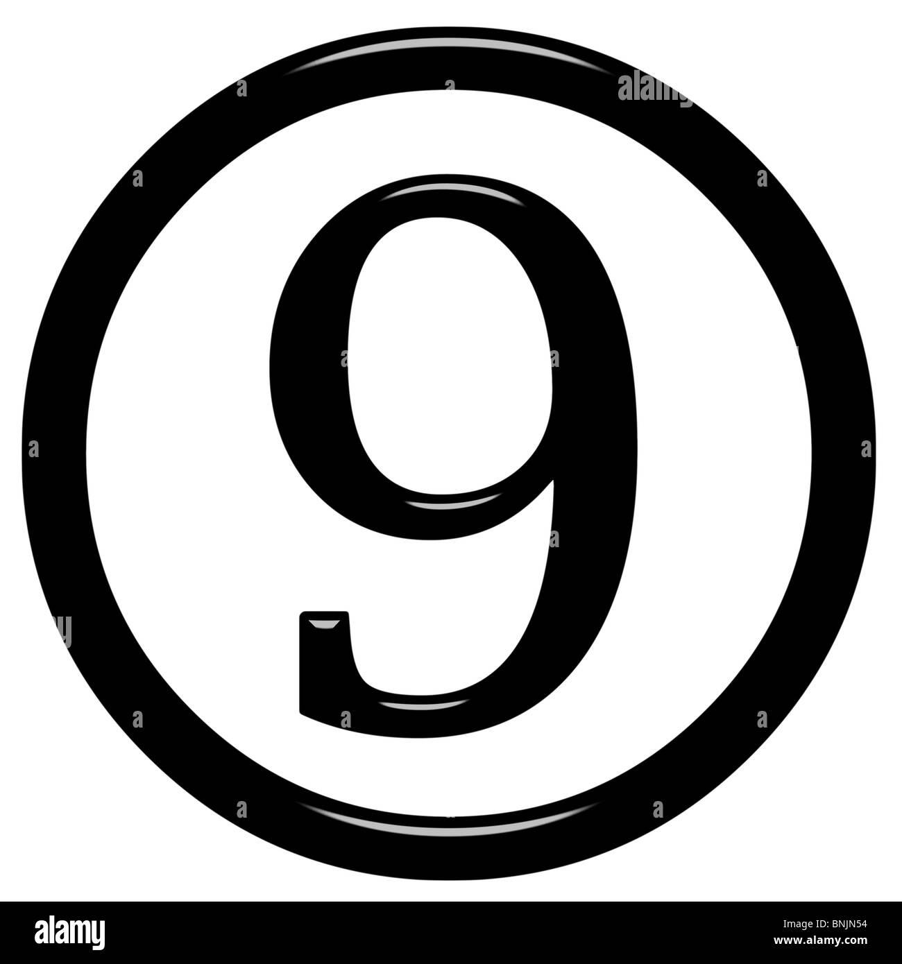 3d framed number 9 - Stock Image