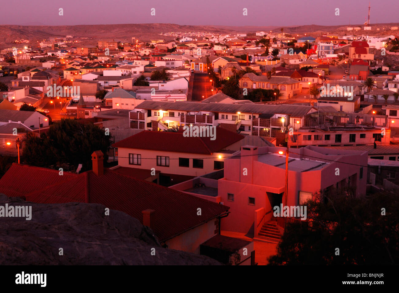 Evening Luderitz Karas Region Namibia Africa Travel town - Stock Image