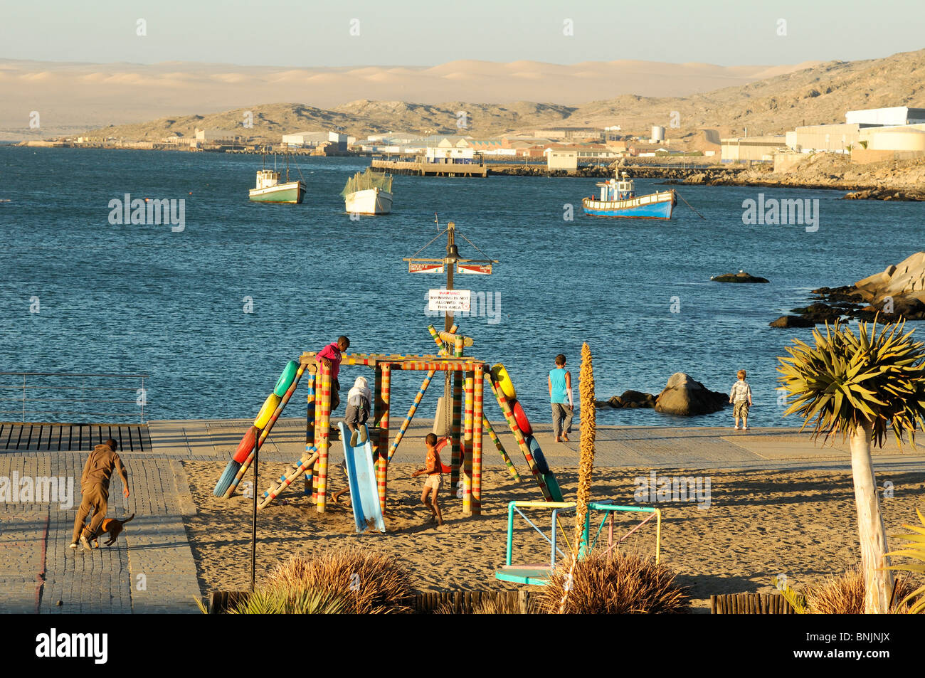 Harbour Luderitz Karas Region Namibia Africa Travel town kids - Stock Image