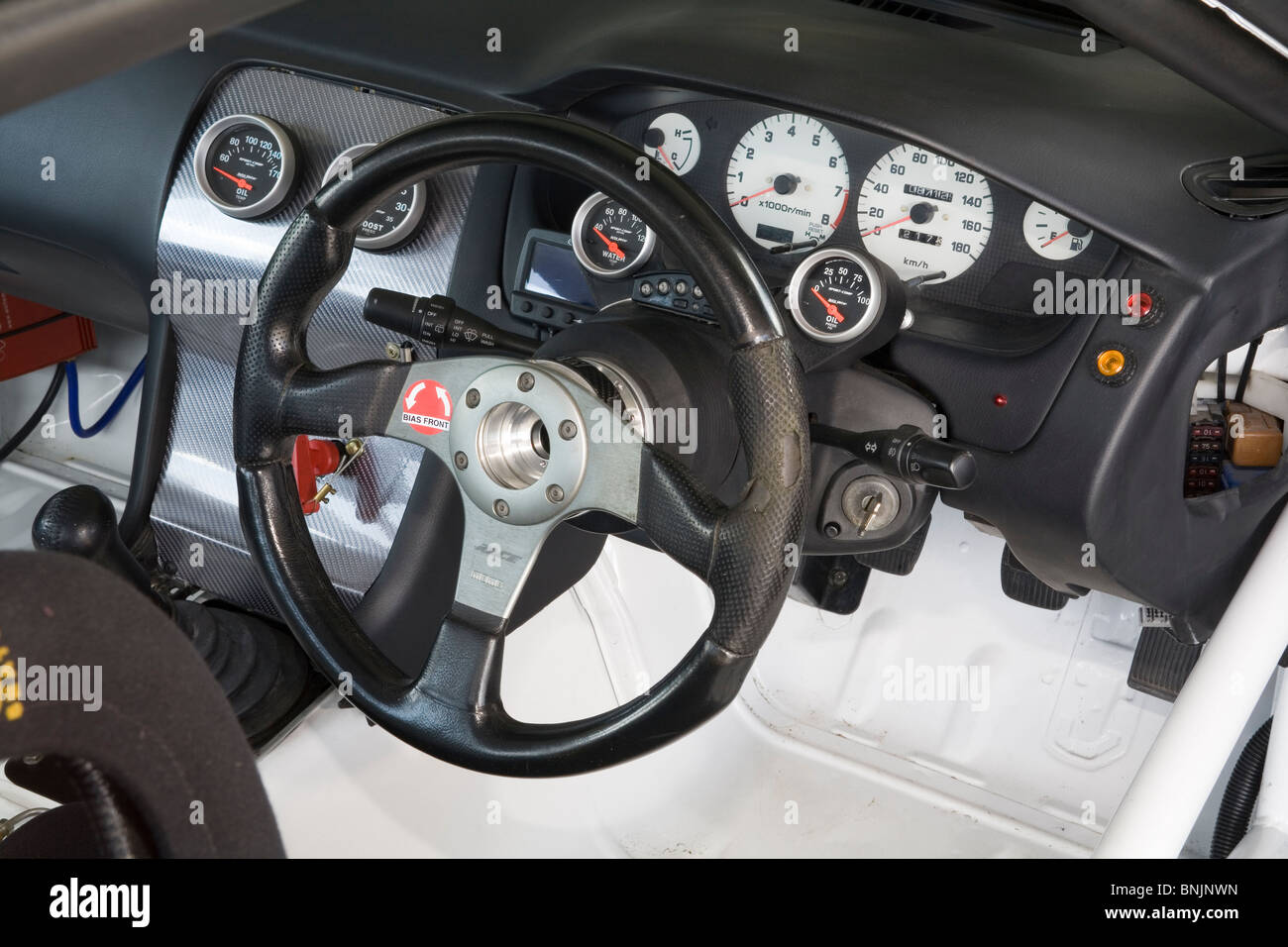 Cabin or cockpit of a circuit racing car Stock Photo