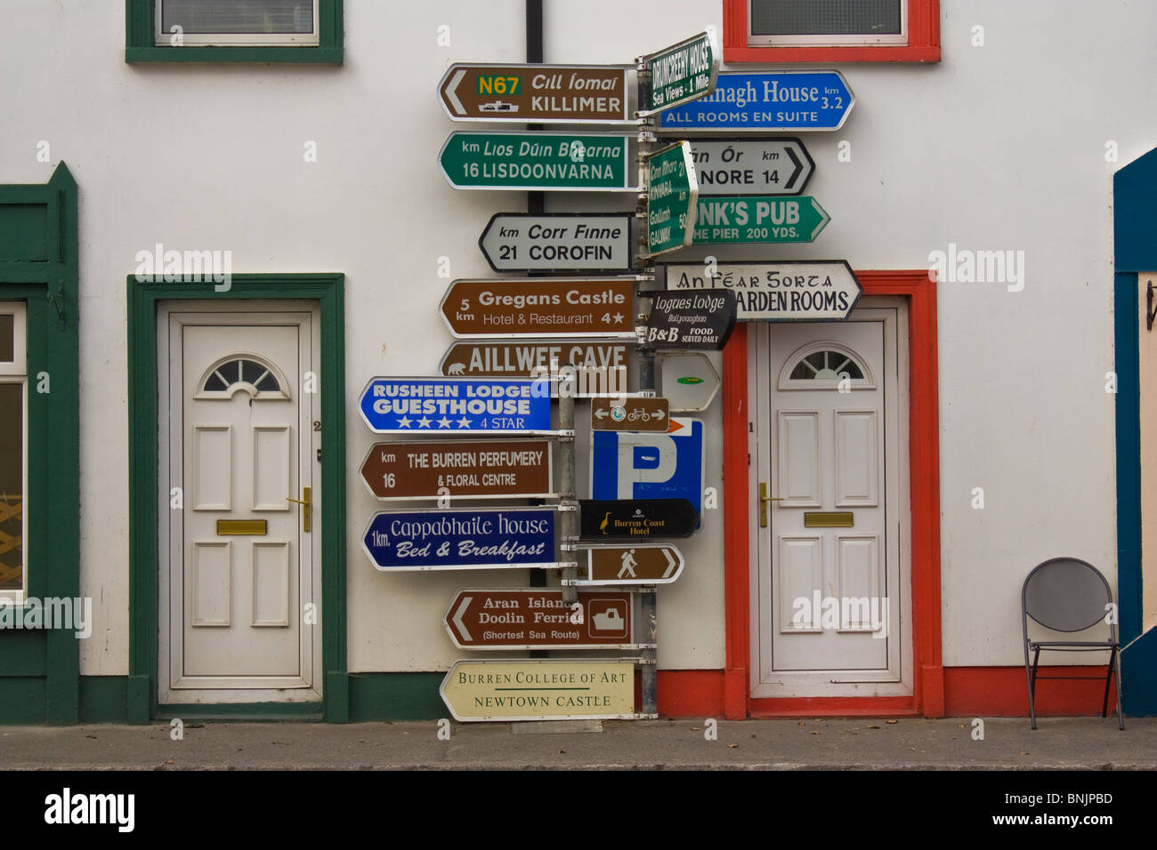 Signs in Ballyvaughan - Stock Image