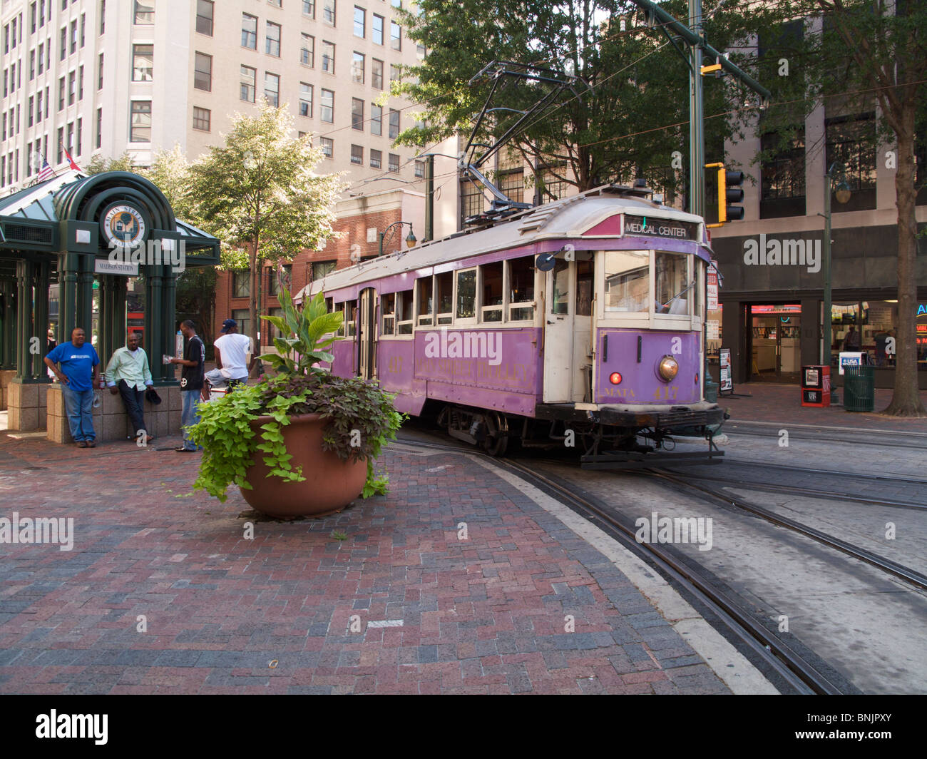 Trolley car on Main Street. Memphis, Tennessee. - Stock Image