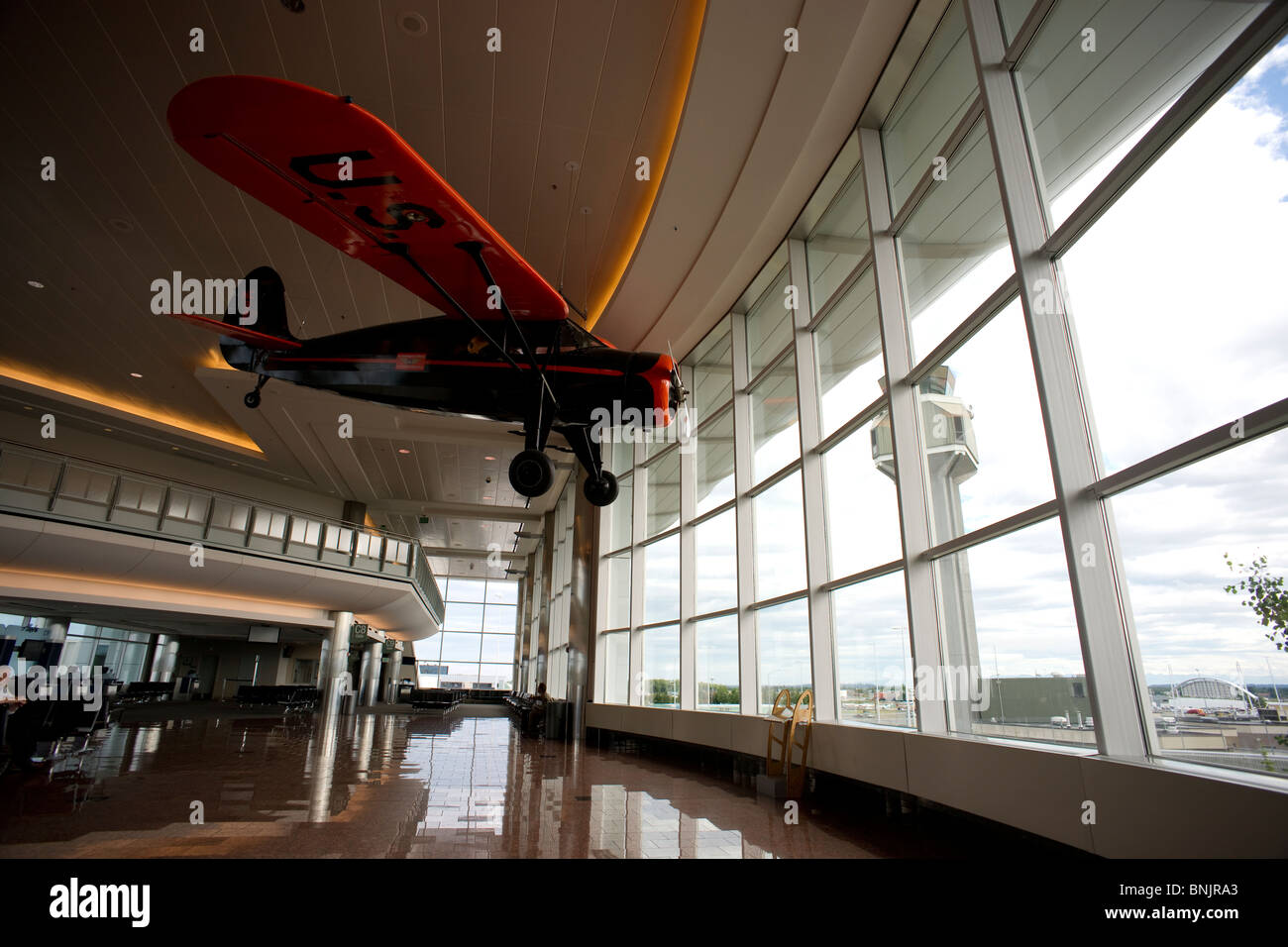Prop Plane Hanging From The Ceiling Inside The Anchorage