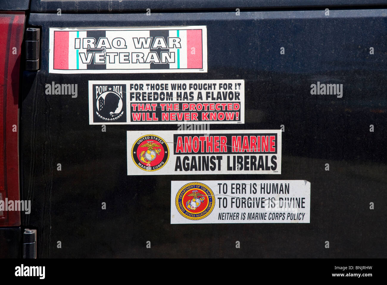 Conservative and Pro Military Bumper Stickers - Stock Image