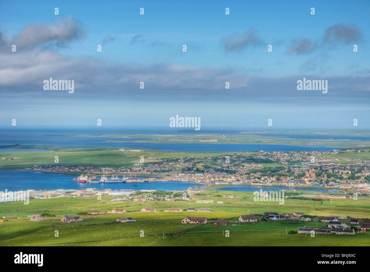 View from Wideford Hill showing Kirkwall and surrounding farmland Mainland Orkney LA005175 - Stock Image