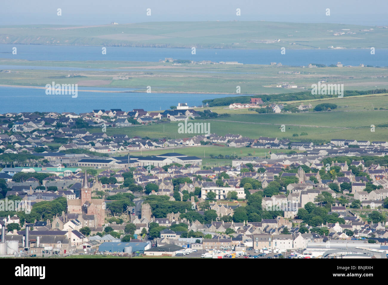Kirkwall from Wideford Hill Mainland Orkney LA005176 - Stock Image