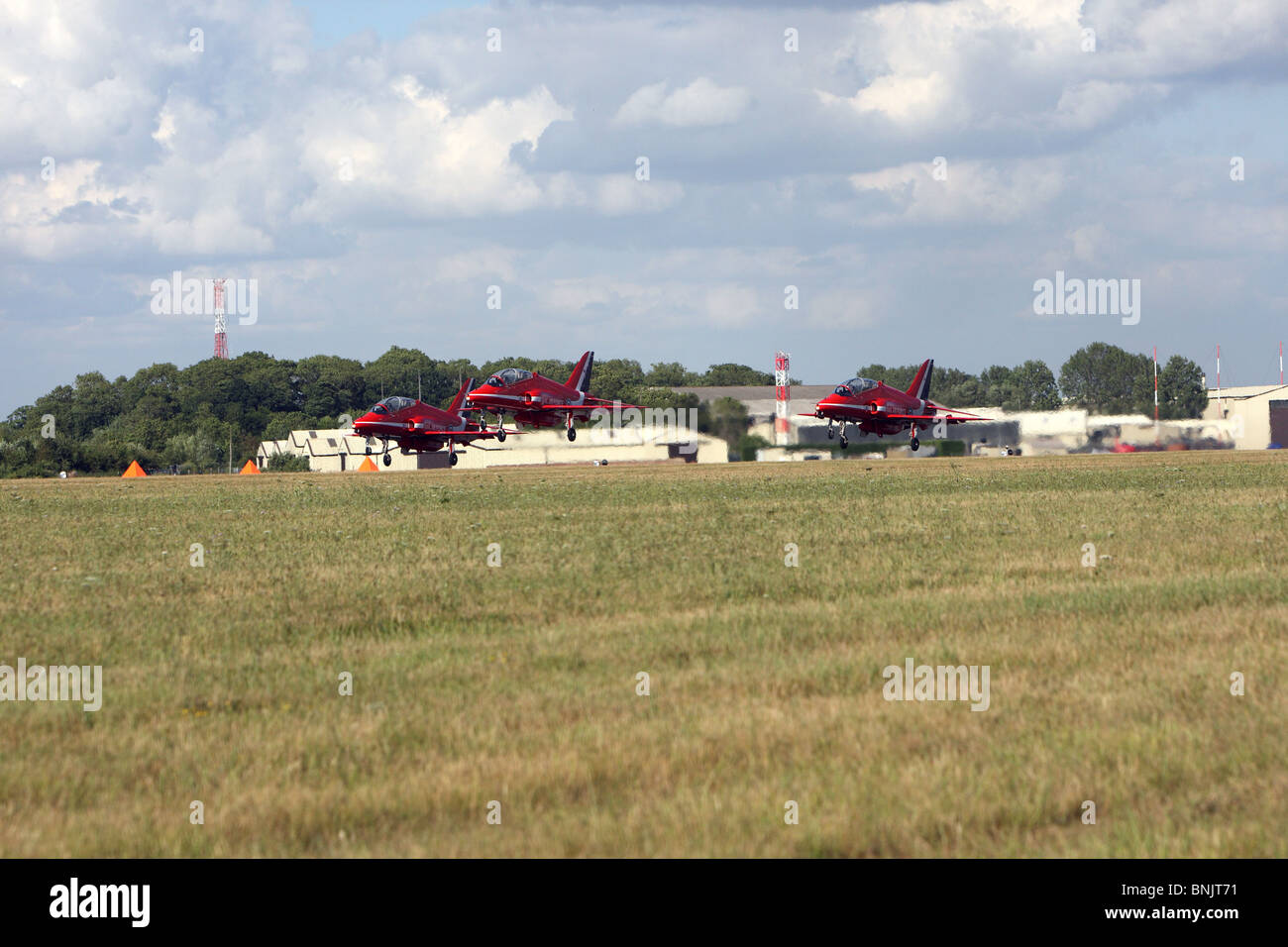 Red Arrows taking off at RAF Fairford Gloucestershire. Royal International Air Tattoo 2010. RIAT Stock Photo