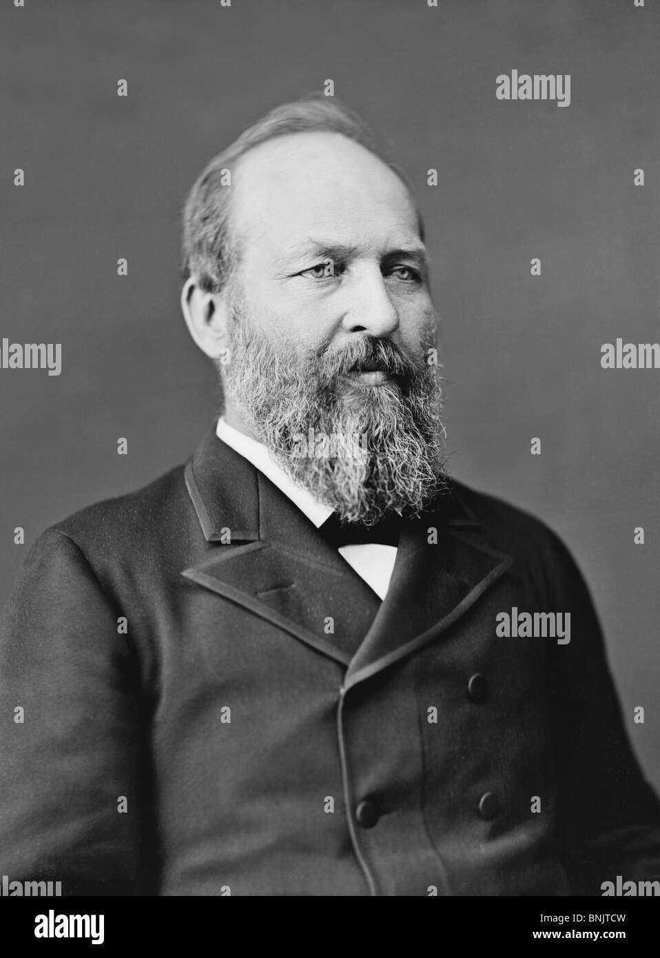 Portrait photo c1870s of James A Garfield (1831 - 1881) - the 20th US President (March - Sept 1881) + second to - Stock Image