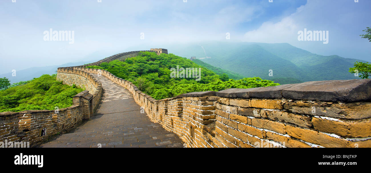 The Great Wall China Beijing Peking Panorama Mutianyu Deserted No People Greatwall Big Diemsion Stone Rock Wall Gigantic Buildin