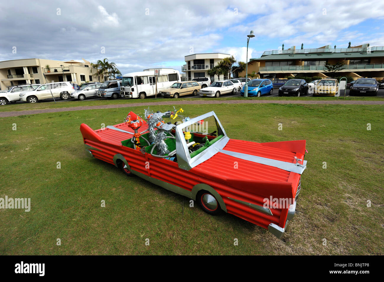 A crazy stylized car made by an artist Annie Younger at Byron Bay Australia - Stock Image