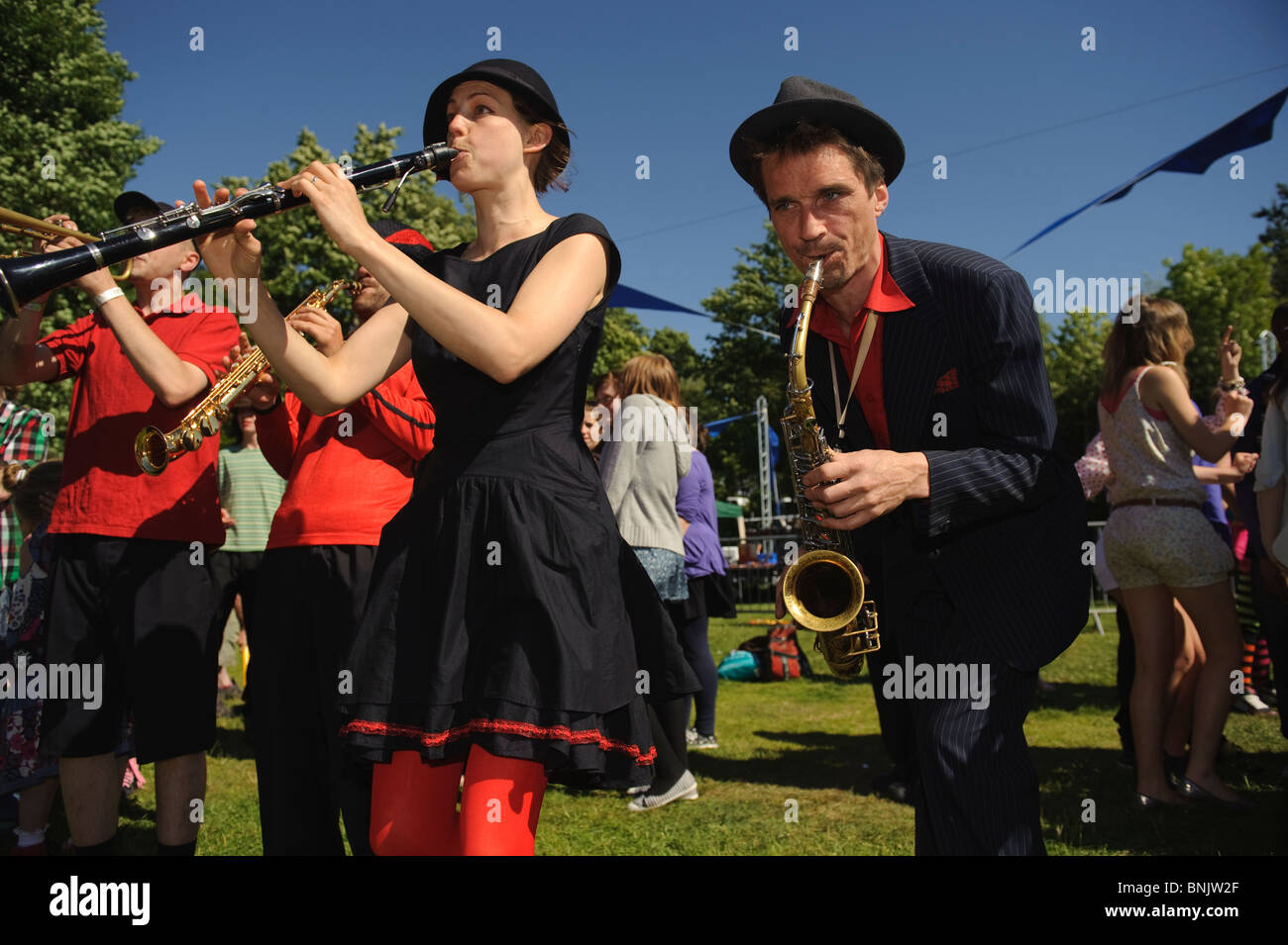 Orkestra Del Sol performing at Aberystwyth Arts Centre 'Mid Mad - Midsummer Madness' open air free music - Stock Image